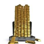 Altın çubuklar çok dolu çanta — Stok fotoğraf #9697151