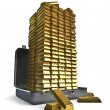 Suitcase very full of gold bars — Stock Photo #9697160