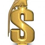 Dollar grenade in gold — Stock Photo