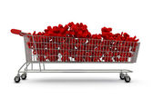 Extra large shopping trolley percentages — Stock Photo