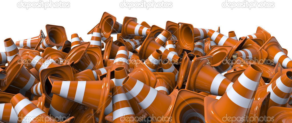 3D render of lots of traffic cones — Stock Photo #9756190
