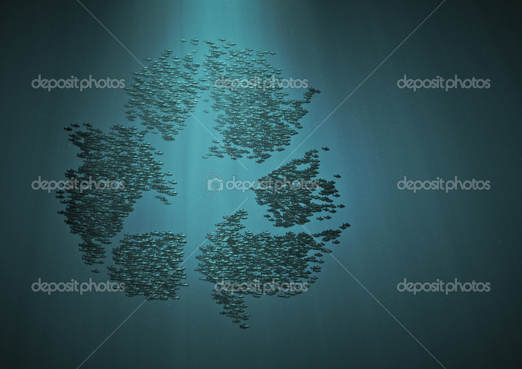 3D render of fish forming recycle symbol  Stock Photo #9773403