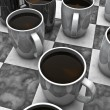 Coffee checkers board game — Lizenzfreies Foto