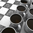 Coffee checkers board game — Stockfoto