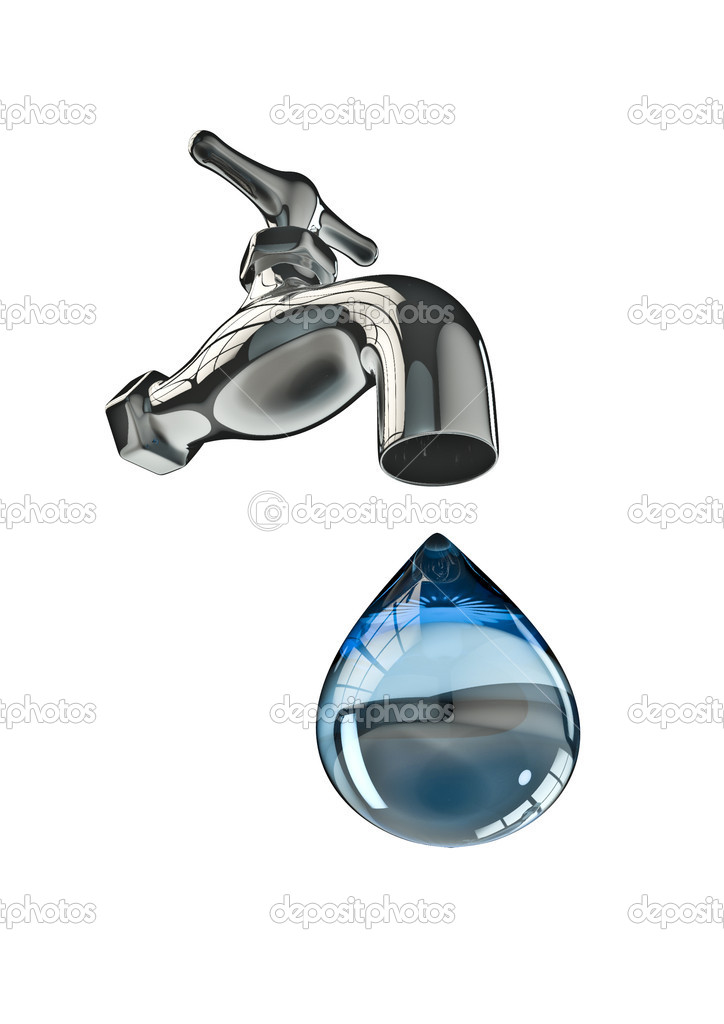 3D render of tap and large water drop — Stock Photo #9814826