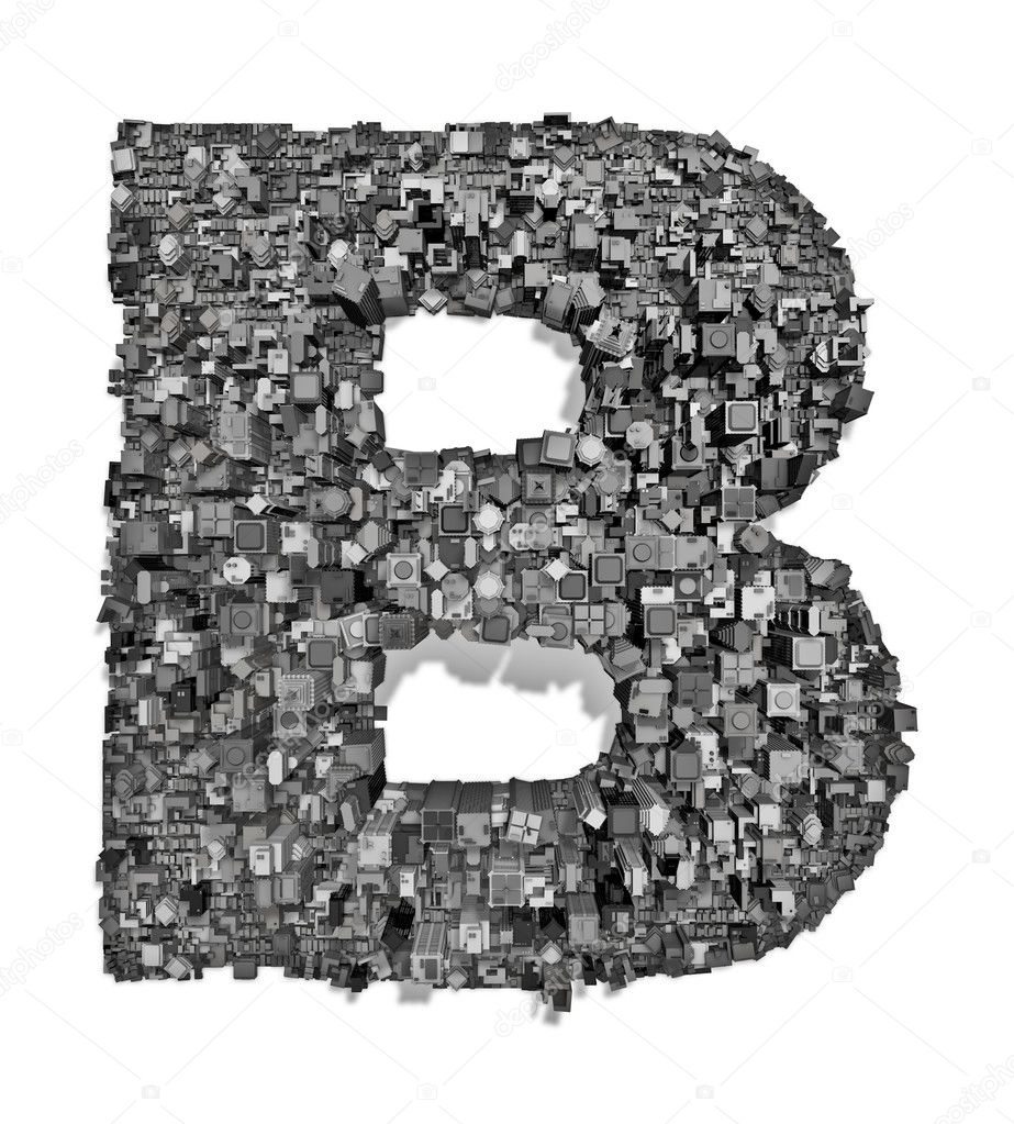 3D render of city forming letter — Stock Photo #9850958