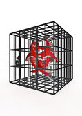 Caged biohazard — Stock Photo