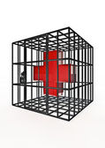 Caged red cross — Stock Photo