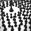 Chess black king and pawns — Stock Photo
