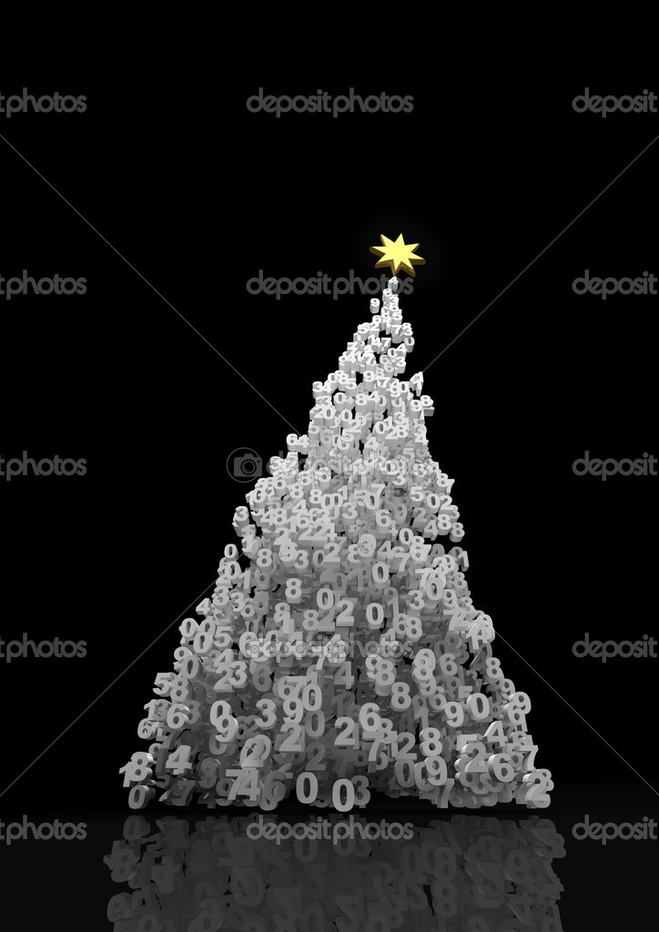 3D render of christmas tree formed by numbers  Stock Photo #9899259