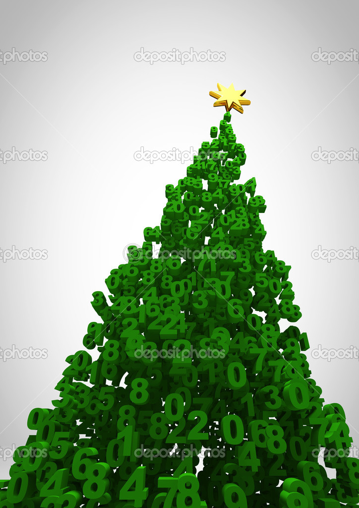 3D render of christmas tree formed by numbers  Stock Photo #9899272
