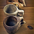 Wooden coffee cups or guksi — Stock Photo
