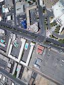 Bird eyes view on urban city, sun over buildings Las Vegas — Stock Photo