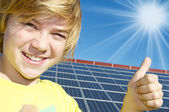 Thumbs up - solar energy — Stock Photo