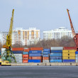 Cranes in the cargo port - Stock Photo