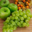 Apples, grapes, physalis - Stock Photo