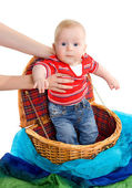 The child getting from a basket — Stock Photo