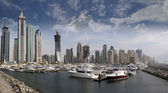 Dubai Marina with Yachts and boats — Stock Photo