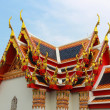 Thai style triangle on the temple roof — Stock Photo #10343913