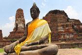 The Buddha and The pagoda, Ayutthaya — Stock Photo