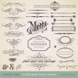 Vector set: calligraphic design elements and page decoration (1) — Vettoriale Stock #9455001