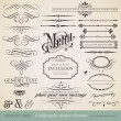 Vector set: calligraphic design elements and page decoration (1) — Stok Vektör #9455001