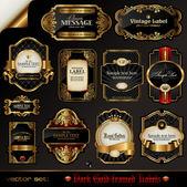 векторный набор: черное золото в рамке этикетки — Cтоковый вектор