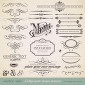 Wektorowa zestaw: elementy projektu kaligraficzne i strony dekoracji (1) — Wektor stockowy