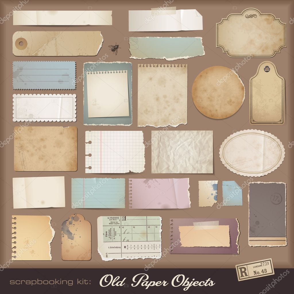 Different aged paper objects for your layouts  Stock Vector #9454968