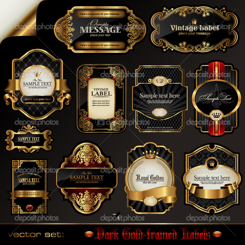 Collection of dark ornate labels — Stok Vektör #9454988