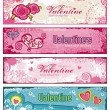 Grungy Valentine banners - Stok Vektr