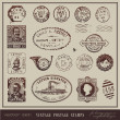Vector set: vintage postage stamps — Vector de stock #9476030