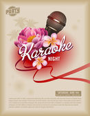Flyer fiesta karaoke retro o póster — Vector de stock