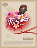 Retro karaoke partisi el ilanı veya poster — Stok Vektör