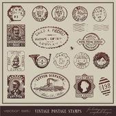 Vektör kümesi: bağbozumu posta pulları — Stok Vektör