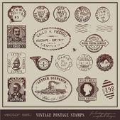 Vector set: vintage postage stamps — Stock Vector