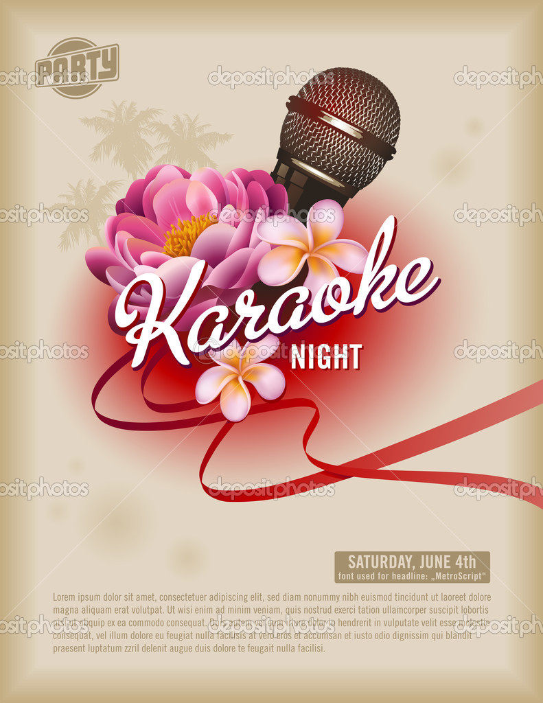 Template with microphone and exotic flowers  Stok Vektr #9476012