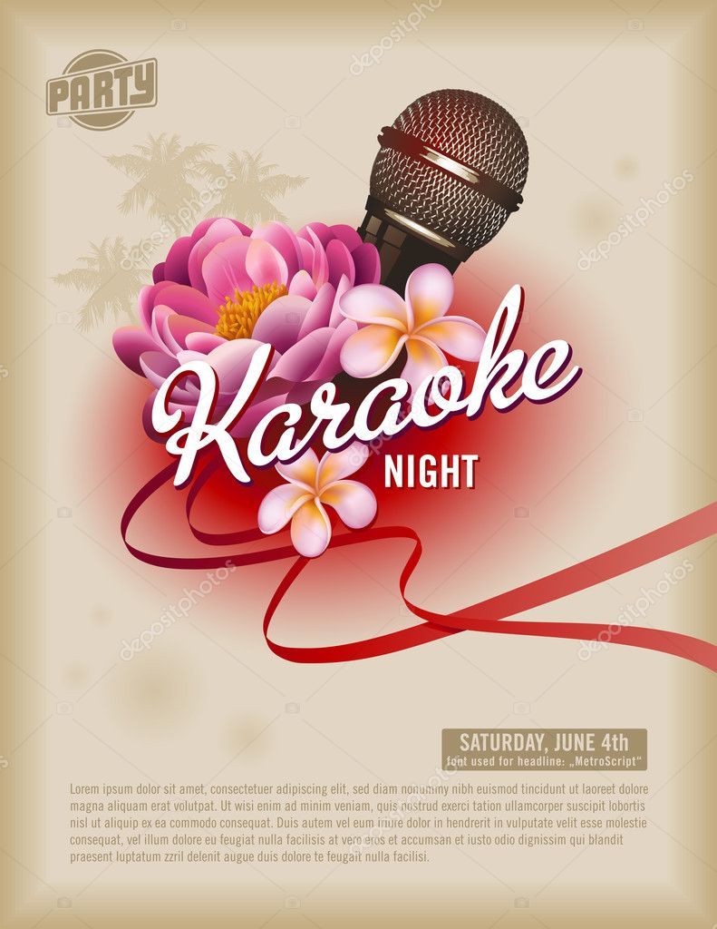 Template with microphone and exotic flowers  Stockvectorbeeld #9476012