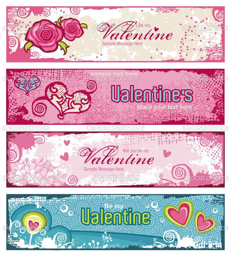 Set of four lave-themed banners with hearts, flowers and grungy textures — Stock Vector #9476021