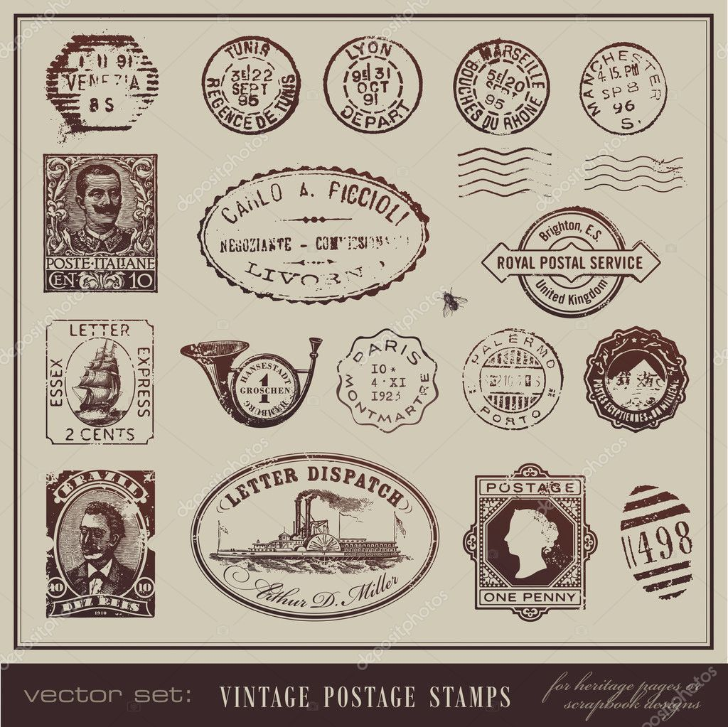 Large collection of antique stamps from different countries — Stock Vector #9476030