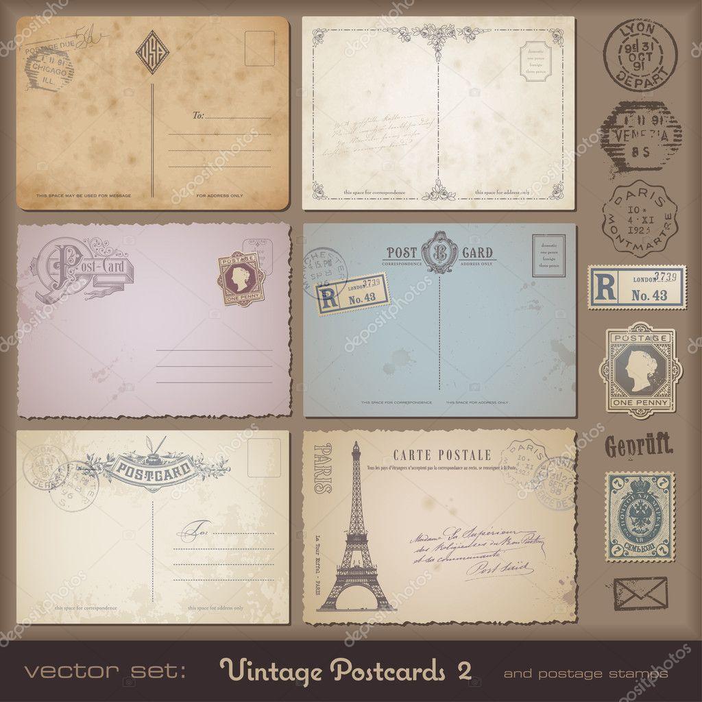 vintage postcard designs stock vector studio accanto