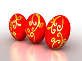 3d red easter eggs with golden ornament — Stock Photo