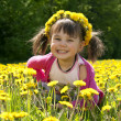 Royalty-Free Stock Photo: Smiling girl sitting on the dandelion field