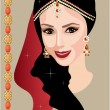 Beautiful Indian woman with jewelry — Stock Vector
