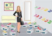Beautiful vector girl in shoe shop — Stock Vector