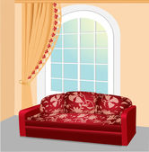 Red sofa near the big window with beautiful lace curtain — Stock Vector