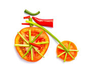 Old bicycle made from vegetables. — Stock Photo