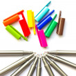 Colored pens. - Stock Photo