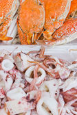 Boiled octopus and boiled crab — Stock Photo