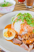 Rice with roasted pork with sauce. — Stock Photo